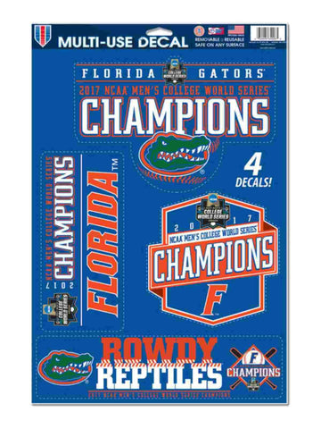Florida Gators 2017 NCAA College World Series CWS Champions 4 Decal Sheet Set
