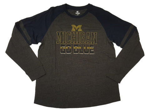 "Michigan Wolverines Colosseum Gray & Navy ""Go Blue"" Long Sleeve T-Shirt (L)"