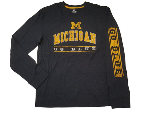 "Michigan Wolverines Colosseum Navy ""Go Blue"" Long Sleeve Crew T-Shirt (L)"