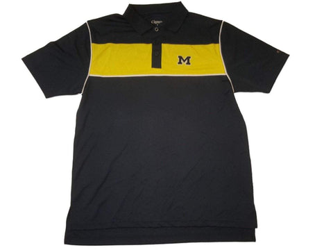 Michigan Wolverines Chiliwear Navy Yellow 3 Button Performance SS Polo (L)