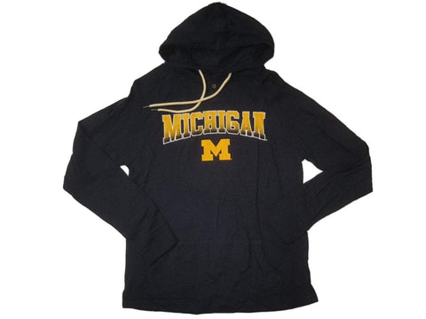 Shop Michigan Wolverines Colosseum Navy 1 Button Long Sleeve Hooded T-Shirt (L)