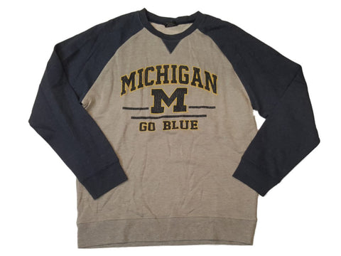 "Shop Michigan Wolverines Colosseum Gray & Navy ""Go Blue"" Long Sleeve Sweatshirt (L)"