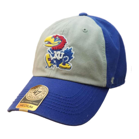 2f31ddcd68d52 Shop Kansas Jayhawks 47 Brand Gray   Blue Franchise Fitted Slouch Relax Hat  Cap