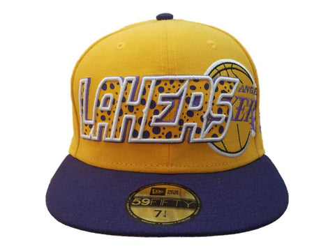 Los Angeles Lakers New Era Yellow 59FIFTY Structured Flat Bill Hat Cap (7 1/4)