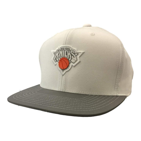 Shop New York Knicks Mitchell & Ness Hardwood Classics Strapback Flat Bill Hat Cap
