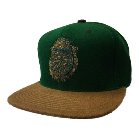 "Shop Mitchell & Ness Arkansocks ""Socksquatch"" Green Wool Snapback Flat Bill Hat Cap"