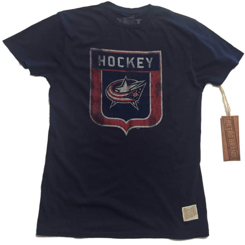 Shop Columbus Blue Jackets Retro Brand Navy Hockey Shield Vintage Cotton T-Shirt