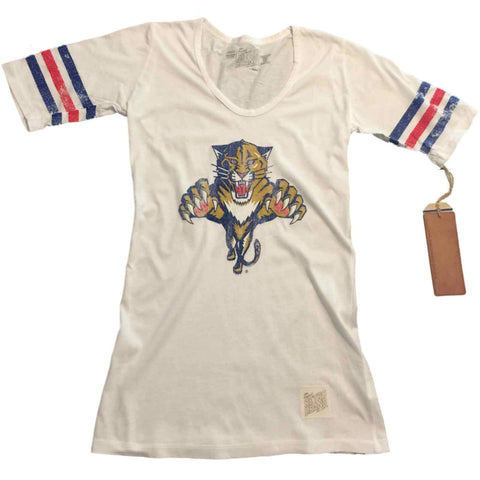 Shop Florida Panthers Retro Brand WOMEN White Striped Quarter Sleeves T-Shirt