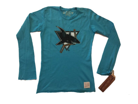 Shop San Jose Sharks Retro Brand WOMEN Teal Long Sleeve Cotton T-Shirt