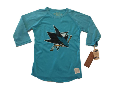 San Jose Sharks Retro Brand WOMEN Teal Half Sleeve Raglan T-Shirt