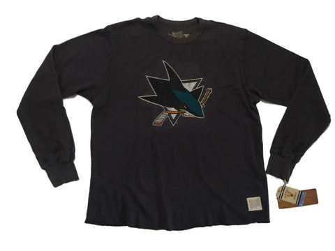 San Jose Sharks Retro Brand Gray Waffle Long Sleeve Pullover Sweatshirt