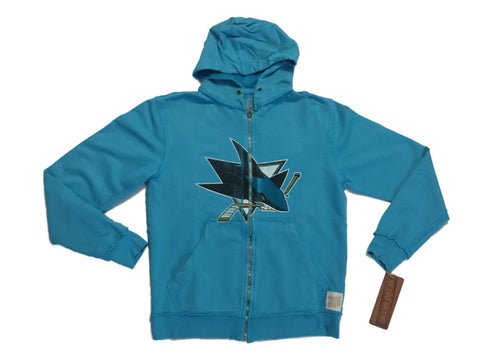 San Jose Sharks Retro Brand Teal Vintage Long Sleeve Full Zip Hooded Jacket