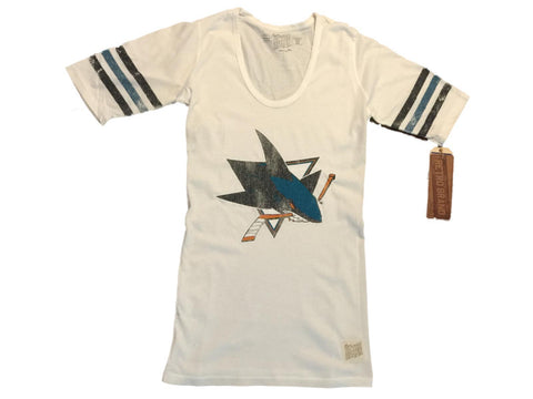 Shop San Jose Sharks Retro Brand WOMEN White Striped Quarter Sleeve T-Shirt