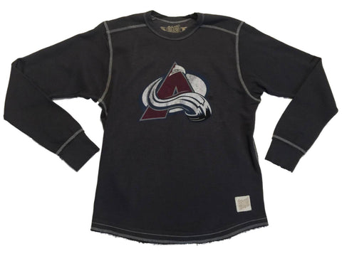 Shop Colorado Avalanche Retro Brand Gray Heavyweight Long Sleeve Cotton T-Shirt