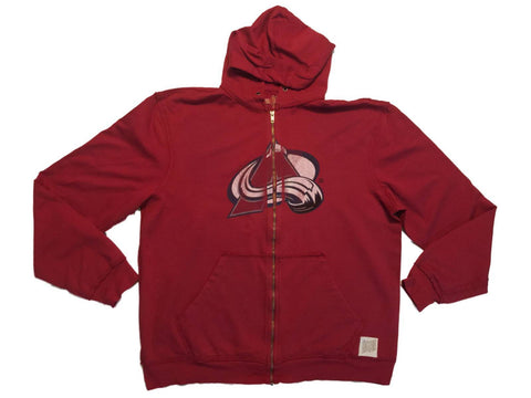 Shop Colorado Avalanche Retro Brand Red Full Zip Up Waffle Hooded Jacket