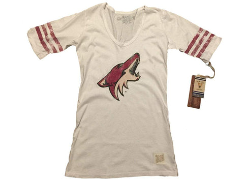 Shop Arizona Coyotes Retro Brand WOMEN White Quarter Striped Sleeve Tunic T-Shirt