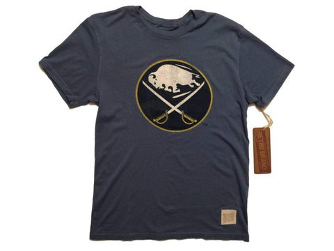 Buffalo Sabres Retro Brand Blue 100% Cotton Short Sleeve Vintage T-Shirt