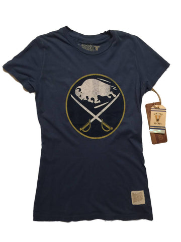 Shop Buffalo Sabres Retro Brand WOMEN Blue Vintage Crew Neck Short Sleeve T-Shirt