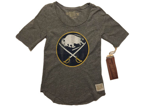 Shop Buffalo Sabres Retro Brand WOMEN Gray Quarter Sleeve Tri-Blend T-Shirt