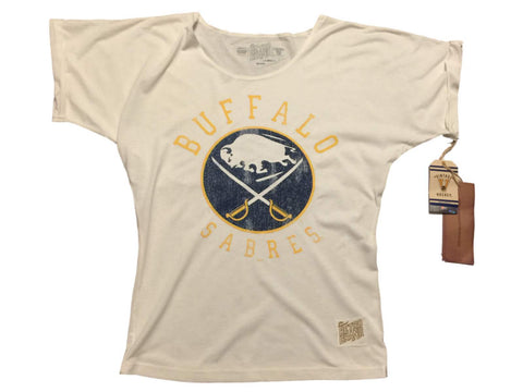 Buffalo Sabres Retro Brand WOMEN Off-White Loose Short Sleeve T-Shirt