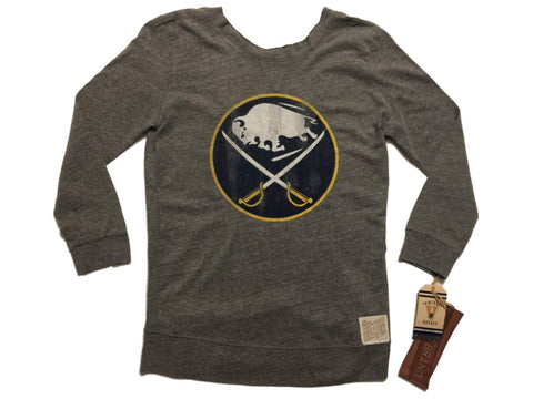 Buffalo Sabres Retro Brand WOMEN Gray Long Sleeve Scoop Back T-Shirt