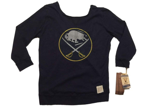 Shop Buffalo Sabres Retro Brand WOMEN Navy Long Sleeve Scoop Back T-Shirt