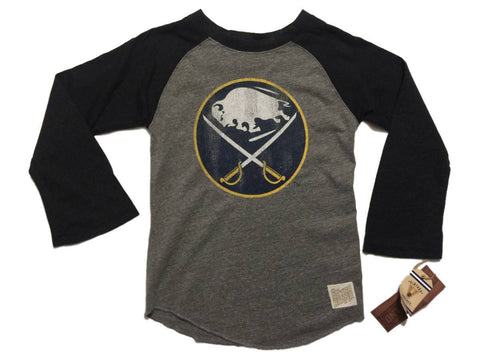 Shop Buffalo Sabres Retro Brand WOMEN Gray 3/4 Sleeve Raglan T-Shirt
