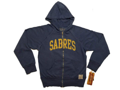 Shop Buffalo Sabres Retro Brand WOMEN Blue Block Letters Full Zip Up Jacket