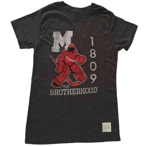 Miami University Redhawks Retro Brand Gray Hockey The Brotherhood T-Shirt