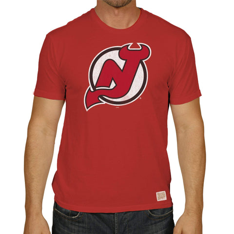 New Jersey Devils Retro Brand Red Vintage Short Sleeve Cotton T-Shirt