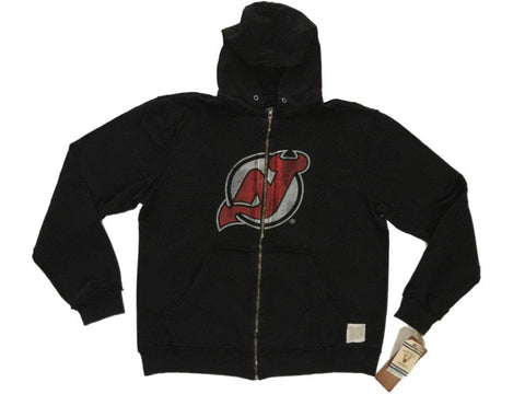 Shop New Jersey Devils Retro Brand Black Full Zip Up Waffle Hooded Jacket