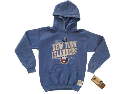 Shop New York Islanders Retro Brand YOUTH Blue Fleece Pullover Hoodie Sweatshirt