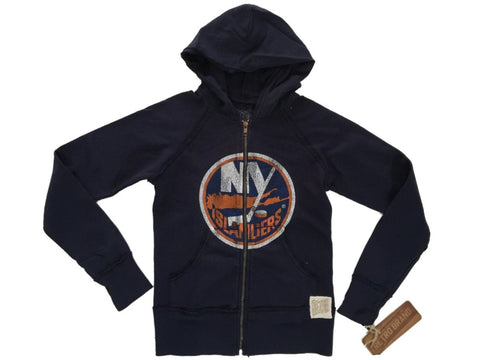 New York Islanders Retro Brand WOMEN Navy Full Zip Up Fleece Hooded Jacket