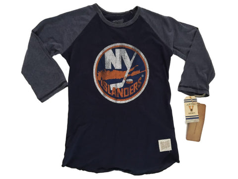 Shop New York Islanders Retro Brand WOMEN Navy Contrast 3/4 Sleeve T-Shirt