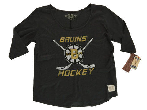 Shop Boston Bruins Retro Brand WOMEN Black Oversized Wide Neck 3/4 Sleeve T-Shirt