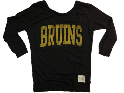 "Shop Boston Bruins Retro Brand WOMEN Black ""Bruins"" Scoop Back Long Sleeve T-Shirt"