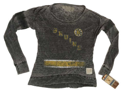Shop Boston Bruins Retro Brand WOMEN Gray Translucent Long Sleeve Cuffed T-Shirt