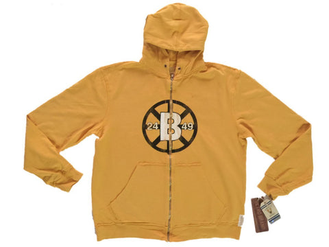 Shop Boston Bruins Retro Brand Gold Full Zip Up Waffle Hooded Vintage Jacket - Sporting Up