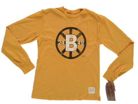 Shop Boston Bruins Retro Brand Gold 100% Cotton Crew Neck Long Sleeve T-Shirt - Sporting Up
