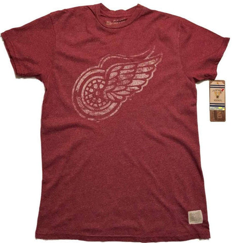 Shop Detroit Red Wings Retro Brand Red Primary Logo Vintage Mock Twist T-Shirt