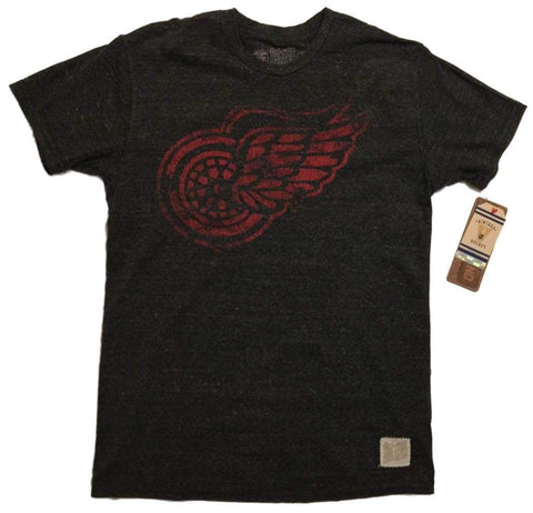 Shop Detroit Red Wings Retro Brand Black Primary Logo Tri-Blend T-Shirt