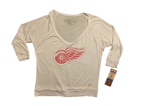 Shop Detroit Red Wings Retro Brand WOMEN White 3/4 Sleeve Stretchy V-Neck T-Shirt