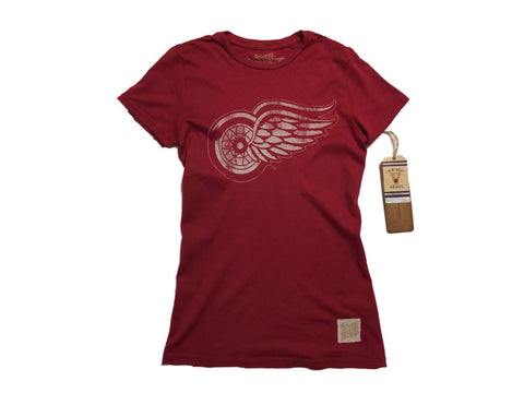 Detroit Red Wings Retro Brand WOMEN Red Vintage Cotton Crew Neck T-Shirt