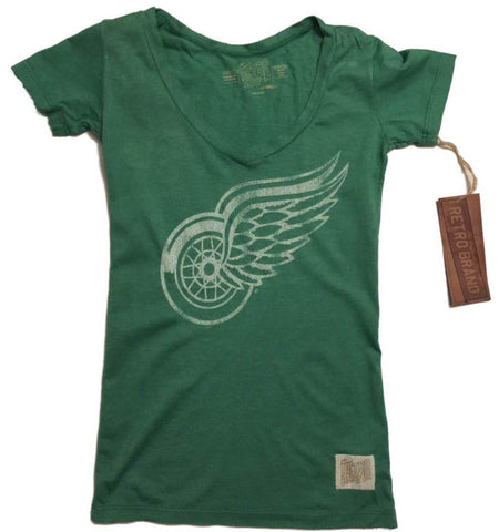 Shop Detroit Red Wings Retro Brand WOMEN Green Deep V-Neck Tri-Blend T-Shirt