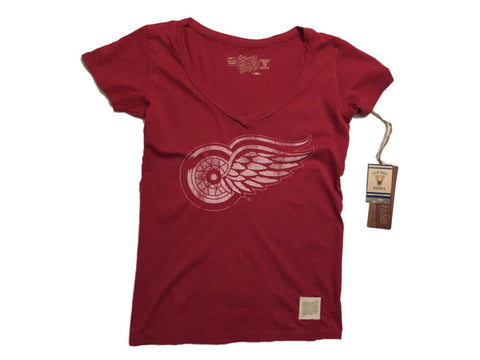 Shop Detroit Red Wings Retro Brand WOMEN Red Deep V-Neck Tri-Blend T-Shirt