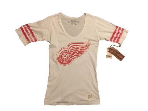 Shop Detroit Red Wings Retro Brand WOMEN White Striped Quarter Sleeve T-Shirt