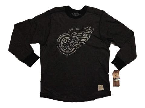 Shop Detroit Red Wings Retro Brand Charcoal Heavyweight Long Sleeve T-Shirt