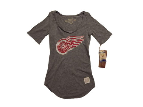 Shop Detroit Red Wings Retro Brand WOMEN Gray Quarter Sleeved Tunic T-Shirt