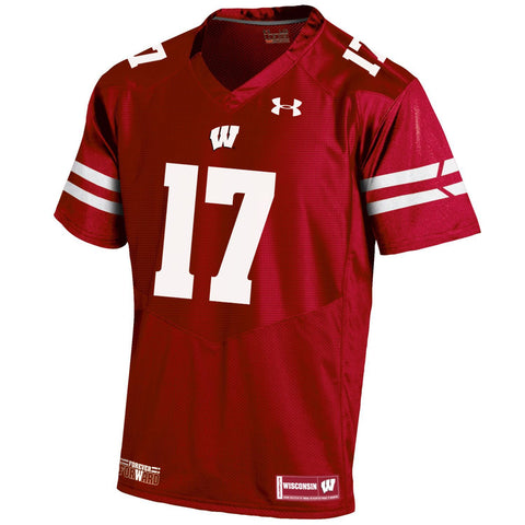 Wisconsin Badgers Under Armour HG Red On-Field Sideline Football Jersey