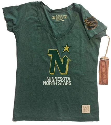 Minnesota North Stars Retro Brand WOMEN Green Deep V-Neck Tri-Blend T-Shirt